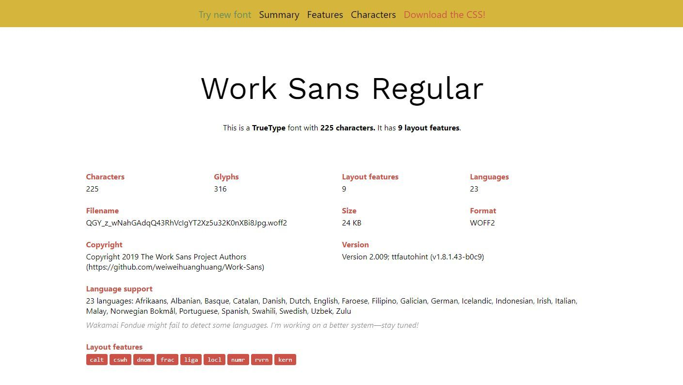The Work Sans in the wakamaifondue interface